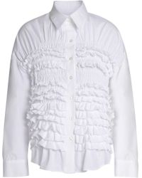 Simone Rocha - Ruffled Shirred Cotton-poplin Shirt - Lyst