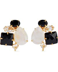 Bounkit - Woman Gold-tone, Onyx, Moonstone And Crystal Earrings Ivory - Lyst