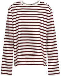 24b1f5f435444b JOSEPH - Woman Morgon Striped Cotton-jersey Top Burgundy - Lyst