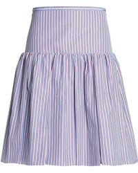 Rochas - Gathered Striped Cotton-poplin Skirt Light Blue - Lyst