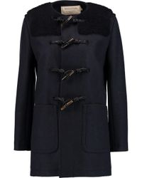 Maison Kitsuné - Bouclé-paneled Wool Duffle Coat Midnight Blue Size 36 - Lyst