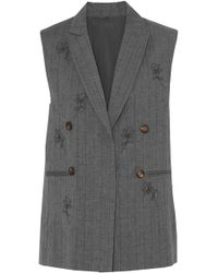 Brunello Cucinelli - Bead-embellished Pinstriped Wool And Linen-blend Vest - Lyst