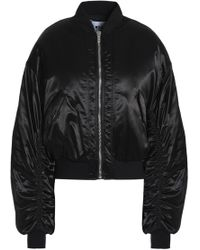MSGM - Ruched Satin Bomber Jacket - Lyst