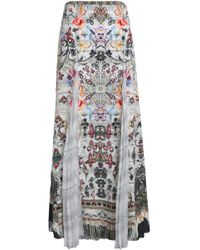 Camilla - Woman Raise Your Glass Printed Panelled Silk-voile And Crepe De Chine Maxi Skirt Off-white - Lyst