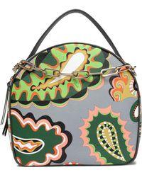 Emilio Pucci - Embellished Printed Textured-leather Shoulder Bag - Lyst