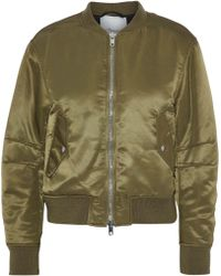 3.1 Phillip Lim - Woman Lace-up Satin Bomber Jacket Army Green - Lyst