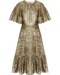 Co. - Ruffled Metallic Velvet Dress - Lyst