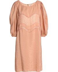 Nina Ricci - Lace-trimmed Crinkled-taffeta Dress - Lyst