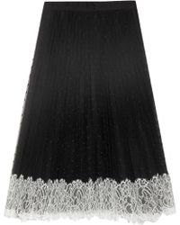 RED Valentino - Pleated Lace-trimmed Point D'esprit Skirt - Lyst