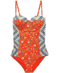 Tory Burch - Printed Swimsuit Bright Orange - Lyst