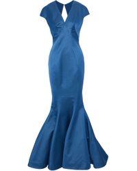 Zac Posen - Fluted Cutout Satin Gown Cobalt Blue - Lyst