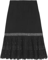Stella McCartney - Pleated Embroidered Tulle-paneled Crepe Skirt - Lyst