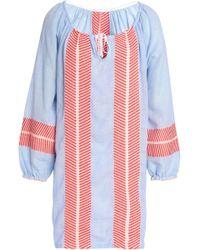 lemlem - Embroidered Cotton-blend Gauze Mini Dress Light Blue - Lyst