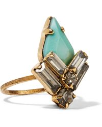 Elizabeth Cole - Culora Gold-plated, Swarovski Crystal And Stone Ring - Lyst