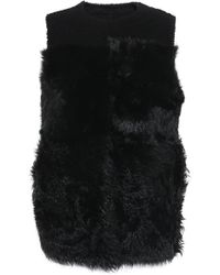Theory - Woman Reversible Shearling Gilet Black - Lyst