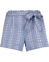 Splendid - Woman Cotton-jacquard Shorts Blue - Lyst
