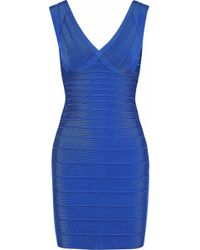 Hervé Léger - Hervé Léger Woman Karima Bandage Mini Dress Cobalt Blue - Lyst