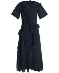 Goen.J - Asymmetric Ruffled Broderie Anglaise And Embroidered Cotton Midi Dress - Lyst