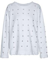 RTA - Eyelet-embellished Distressed Cotton-terry Sweatshirt - Lyst