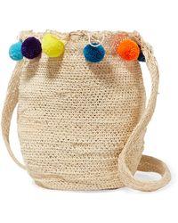 Muzungu Sisters - Pompom-embellished Woven Straw Shoulder Bag - Lyst