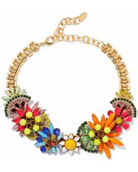 Elizabeth Cole - 24-karat Gold-plated, Swarovski Crystal And Stone Necklace - Lyst
