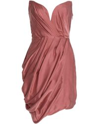 Zimmermann - Strapless Draped Washed-silk Mini Dress Antique Rose - Lyst