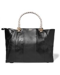 Lanvin - Snake Effect-trimmed Leather Tote - Lyst
