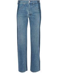 Helmut Lang - Two-tone High-rise Straight-leg Jeans Mid Denim - Lyst