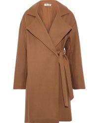 Diane von Furstenberg - Belted Wool-blend Felt Coat Camel - Lyst
