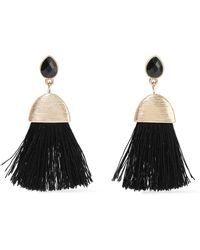 Kenneth Jay Lane - Woman Tasselled Gold-tone Crystal Earrings Black - Lyst