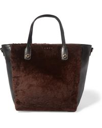 Sandro - Alana Leather And Shearling Tote Dark Brown - Lyst