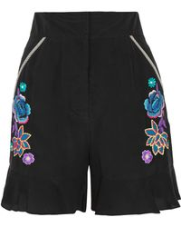 Matthew Williamson - Appliquéd Silk Crepe De Chine Shorts - Lyst