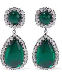 Kenneth Jay Lane - Woman Gunmetal-tone, Stone And Crystal Clip Earrings Emerald - Lyst