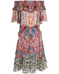 Roberto Cavalli - Off-the-shoulder Shirred Printed Silk-voile Dress - Lyst