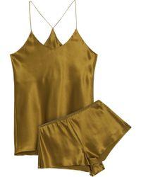 Olivia Von Halle - Bella Silk-satin Pyjama Set Sage Green - Lyst