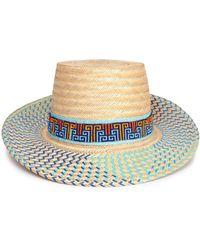 Yosuzi - Bidika Bead-embellished Straw Sunhat Blue - Lyst