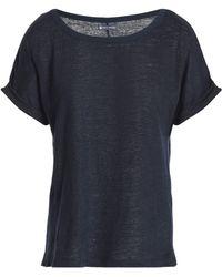 Petit Bateau - Woman Slub Linen-jersey T-shirt Navy - Lyst