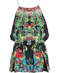 b0a08c810d Camilla - Woman Animal Instinct Belted Embellished Printed Silk Playsuit  Black - Lyst