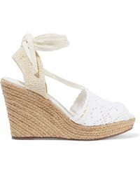 Schutz - Woman Lace-up Crocheted Wedge Espadrille Sandals White - Lyst