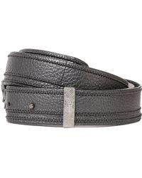Brunello Cucinelli - Metallic Bead-embellished Pebbled-leather Belt - Lyst