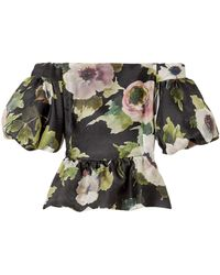 Marchesa - Off-the-shoulder Floral-print Silk-moire Peplum Blouse Black - Lyst