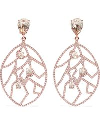 Oscar de la Renta - Rose Gold-tone Crystal Clip Earrings - Lyst