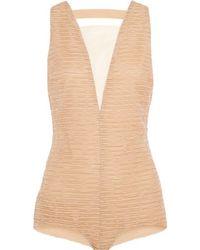 Vionnet - - Ruched Silk-organza Bodysuit - Neutral - Lyst