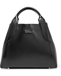 Lanvin - Woman Cabas Mini Leather Tote Black - Lyst