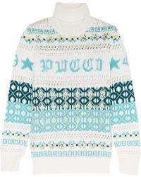 Emilio Pucci - Embellished Intarsia Wool Turtleneck Jumper - Lyst
