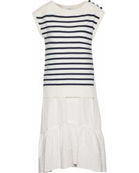 3.1 Phillip Lim - Layered Silk And Cotton-blend Poplin And Striped Merino Wool-blend Dress - Lyst
