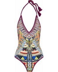 Camilla - Crochet-trimmed Embellished Printed Halterneck Swimsuit - Lyst