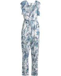 Just Cavalli - Open-back Ruffle-trimmed Printed Linen-blend Jumpsuit Light Blue - Lyst