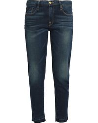 FRAME - Cropped Faded Low-rise Slim-leg Jeans - Lyst
