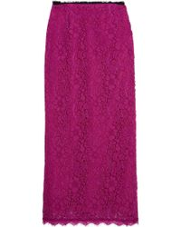 Topshop Unique - Tybalt Corded Lace Midi Skirt - Lyst